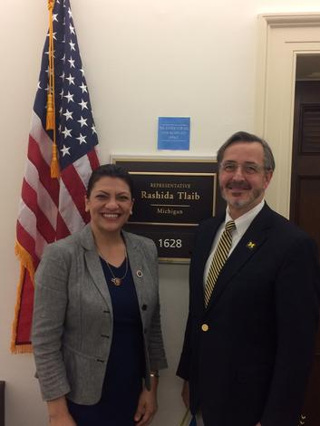 March 13, 2019: Chancellor Grasso meets with Congresswoman Tlaib, in Washington DC, to discuss the impact of UM-Dearborn.