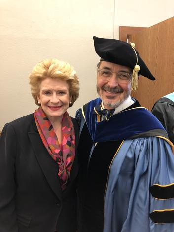 March 19, 2019: Chancellor Grasso and Michigan Senator Debbie Stabenow at the instillation ceremony for CMU president, Robert Davies.