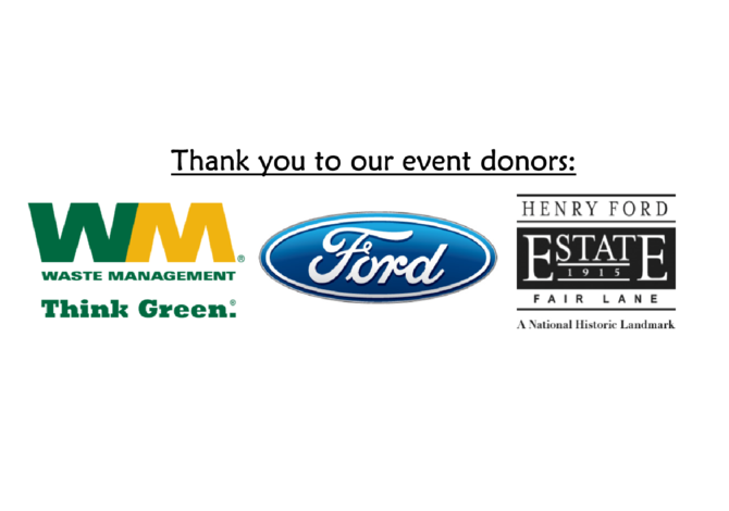 Donors for the 2020 Rouge River Water Festival (Waste Management, Ford Motor Company, and Fair Lane: the Home of Clara and Henry Ford)