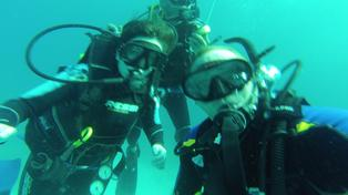 SCUBA diving with the field school director
