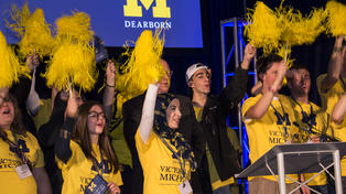 UM-Dearborn students celebrating the Victors for UM-Dearborn campaign kick-off