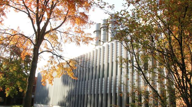 The Natural Sciences Building in fall on the UM-Dearborn campus.