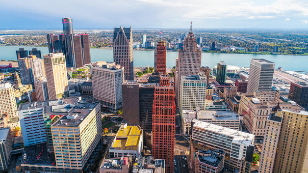 An aerial view of the Downtown Detroit on a sunny day.