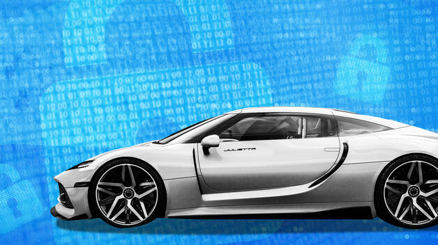 A collage graphic featuring a futuristic car flanked by lock icons representing advanced cybersecurity defenses.