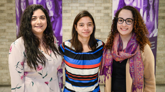 Ford Motor Company employees and College of Engineering and Computer Science alumnae Alexandra Alioto '17 B.S. (right), Mariana Doughan '15 B.S.E. (left), and Chelsey Revita '14 B.S.E. (center)