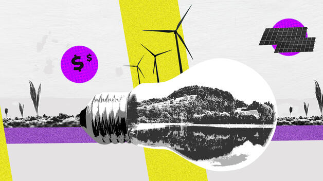 A collage graphic featuring an oversized lightbulb containing icons that represent the fight against climate change, including reforestation, wind turbines and solar panels.