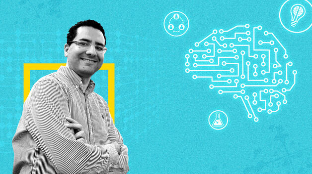 A collage graphic featuring Computer and Information Science Professor Marouane Kessentini, flanked by iconography representing artificial intelligence.