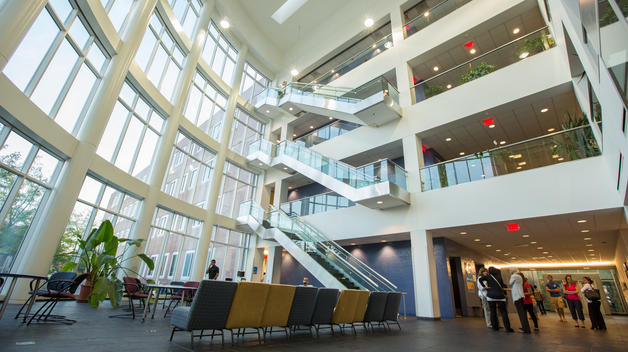 The light-filled atrium of the CASL Building on the UM-Dearborn campus.