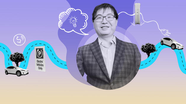 A collage graphic featuring a headshot of Professor Wencong Su and iconography representing electric vehicles.
