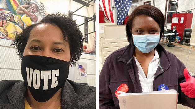 Selfies of UM-Dearborn staff members working the polls on Tuesday.