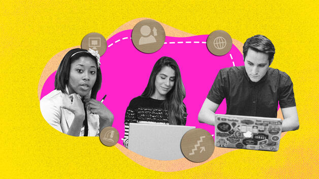 A collage graphic featuring three students working laptops