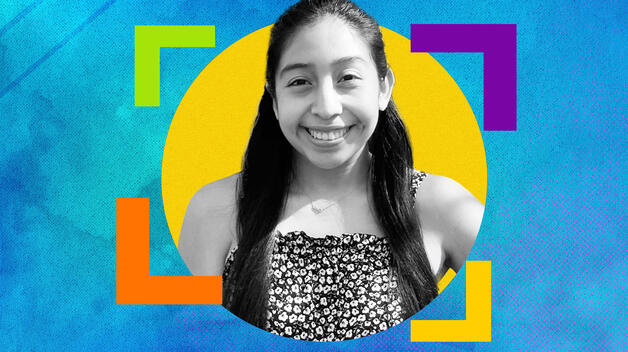 A colorful graphic featuring a black and white headshot of student Maya Gallo