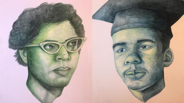 Watercolor portraits of students from the Little Rock Nine by UM-Dearborn student Ghassaq Nassir.