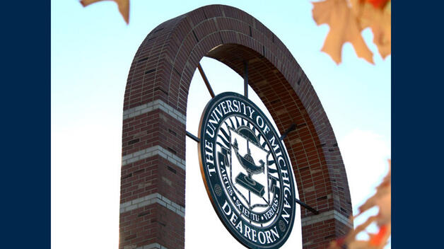 Photo of campus seal in the fall