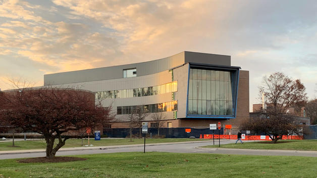 The new Engineering Lab Building, featuring a complete exterior, at sunset on a fall day.
