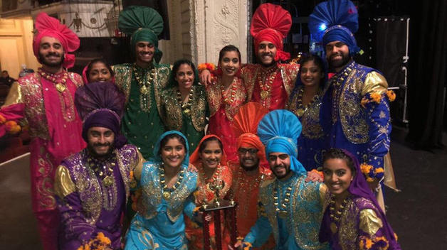 Jasnoor Singh and the UM Bhangra dance team