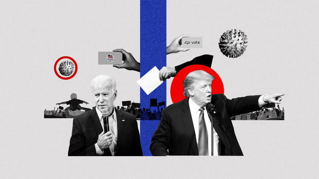 A collage graphic representing the 2020 election, showing presidential candidates Joe Biden and Donald Trump talking into microphones, with iconography like coronavirus symbols and supporters flanking them.
