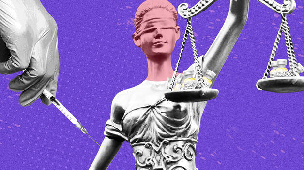 A graphic showing the Lady Justice statue, with her scales holding vials of the COVID-19 vaccine. A hand from the right administers the vaccine into her bare arm.