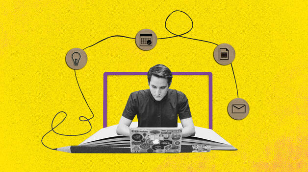 A collage graphic showing a young male student in front of a laptop, engaging in online learning.