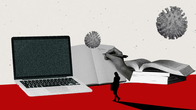 "A collage graphic showing a laptop, books, and a hand writing ""My Plan"" on a piece of paper."