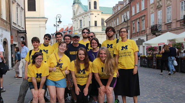 Katrina Finkelstein, front and center, attended the Poland Study Abroad course her senior year.