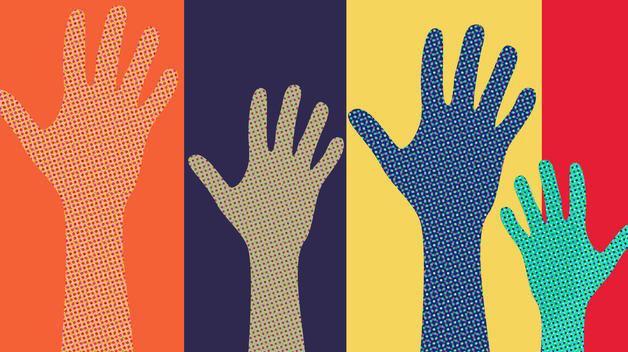 An illustration showing four raised hands of different colors, representing people stepping up to volunteer..