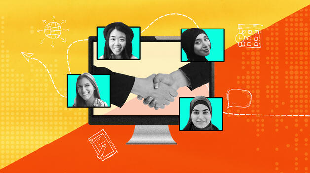 A collage graphic showing headshots of four UM-Dearborn students in the foreground and a computer screen with two people shaking hands in the background.