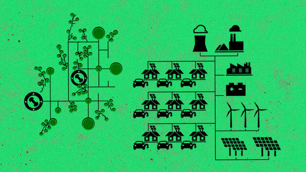 A collage graphic representing energy grids with lots of renewable energy from wind turbines and solar panels.
