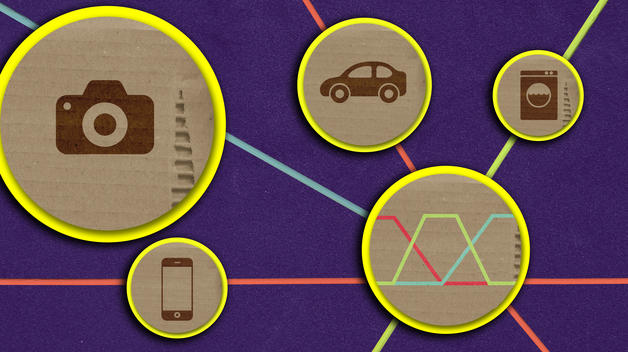 A graphic representing fuzzy logic's connection to technologies like smartphones, digital cameras, washing machines and cars.