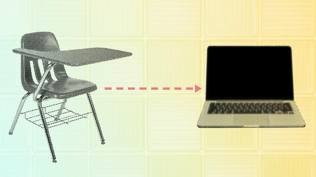 A graphic representing a switch from in-person to remote classes, showing a desk on one side, a laptop on the other, with an arrow connecting the two.