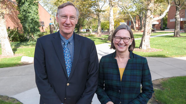 Stephen Forrest and Jennifer Haverkamp, co-chairs of the U-M President's Comissions on Carbon Neutrality.