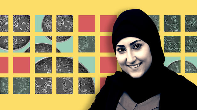 A graphic featuring master's student Malak Nasser and a representation of her research focusing on breast cancer cells.