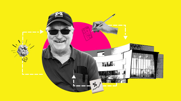 A collage graphic featuring CECS Dean Tony England, surrounded by college icons like the new Engineering Lab Building.