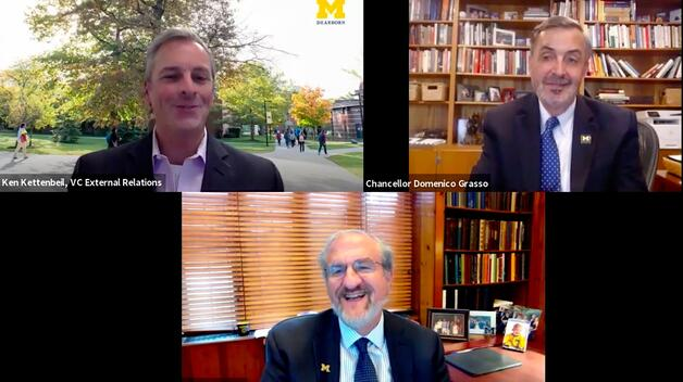 Screenshot of UM-Dearborn Zoom meeting featuring U-M President Mark Schlissel