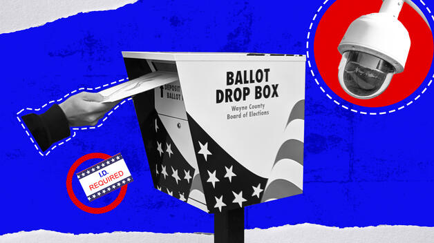 "A collage graphic showing a hand feeding a ballot into a drop box, a security camera, and a ""ID required"" sticker."
