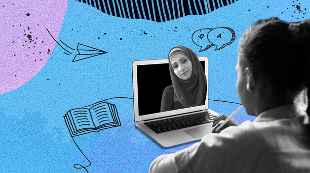 A elementary student doing a virtual tutoring session with a UM-Dearborn education student, who appears on a laptop in front of her.
