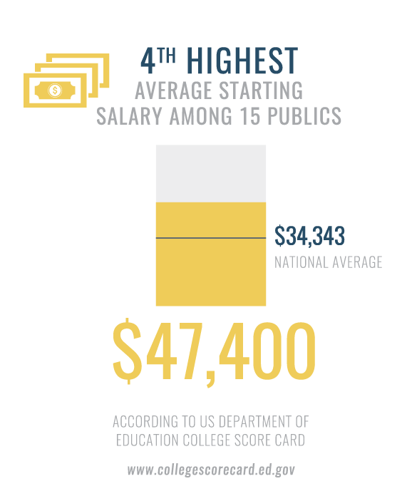 Graph depicting average salary among 15 public Universities